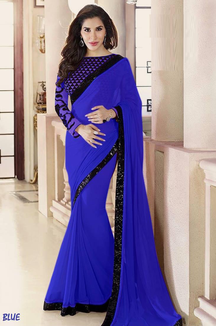 Buy Blue Plain Georgette Designer Saree With Blouse Online