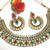 Maroon Green Tilak Pearl Necklace Set