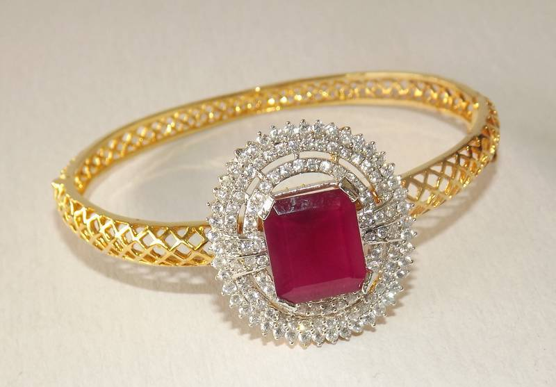 r ruby brace gold jewels bangle bracelet yellow il j pearl product fullxfull estate bangles
