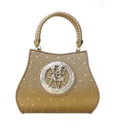 Buy Raw Silk Handbag with Round Tribal Brooch (Dark Gold) eid-bag online