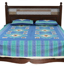 Buy Blue Sanganeri Cotton Printed Double Bed Size Bedsheet bed-sheet online