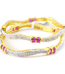 Buy Alluring Curvy bangles with Coloured Baguette Stones punjabi-jewellery online