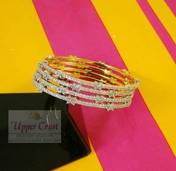 Set of 4 thin Floral CZ Bangles Size - 2.6