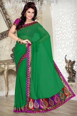 Green Faux Chiffon Saree with Blouse