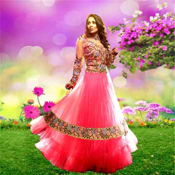 Light-Pink embroidered net semi-stitched salwar with dupatta