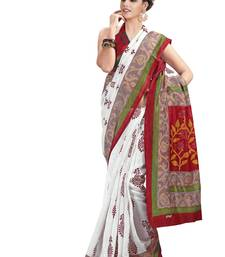 Buy White bengali traditional saree with blouse printed-saree online