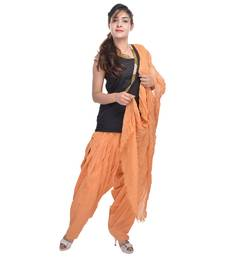 Buy Brown Cotton Patiala Salwar with Dupatta readymade-suit online