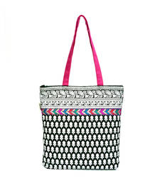 Buy B&W PRINTED TOTE WITH MULTICOLOURED LACE fashion-deal online