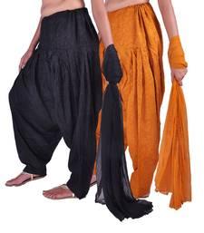 Buy Combo Pack of 2 Cotton Jacquard Patiala & Chiffon Dupatta Set patialas-pant online