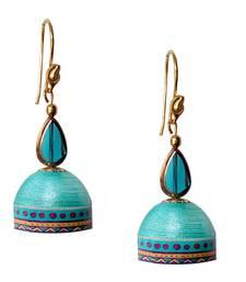 Buy Aqual blue Quilled Jhumkas danglers-drop online