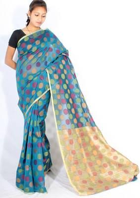 Supernet cotton zari border multi saree