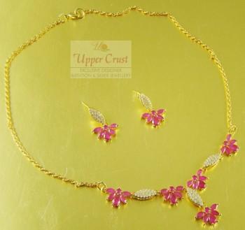 CZ AD Ruby Necklace Jewellery Set
