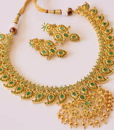 Buy BEAUTIFUL GOLD PLATED SEMIPRECIOUS EMERALD MANGO NECKLACE SET - DJ14250 necklace-set online