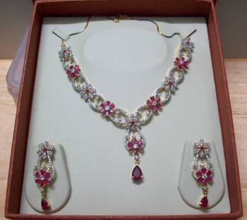 Pink Ruby Flowry AD-CZ Necklace