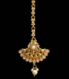 Buy Traditional Indian Bollywood Hair Jewelry Pearl Polki Maang Tikka maang-tikka online