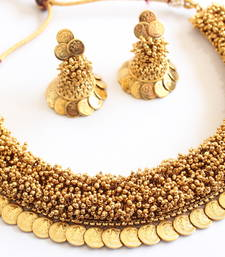 Buy BEAUTIFUL HEAVY GOLD CLUSTER COIN ANTIQUE NECKLACE SET - DJ05488 necklace-set online