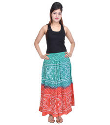 Buy Green Orange Bandhej Cotton Long Skirt plus-size-skirt online