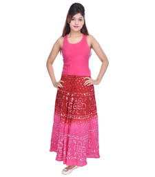 Buy Red Pink Bandhej Hand Work Cotton Long Skirt skirt online