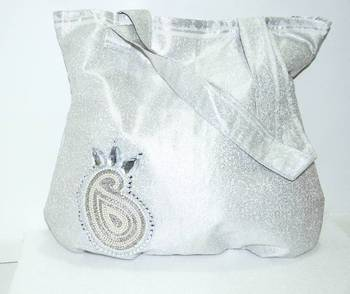 Pearl White Beautiful sequence work- traditional bag