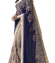 Buy Beige and Blue plain georgette saree with blouse georgette-saree online