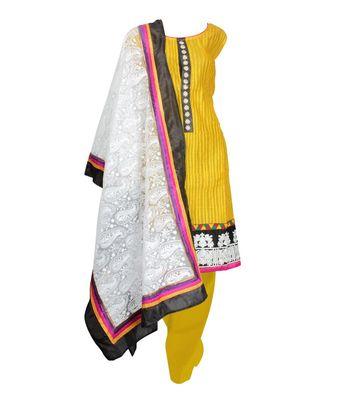 Sihiri Yellow Dress Material Punjabi Suit with White Dupatta