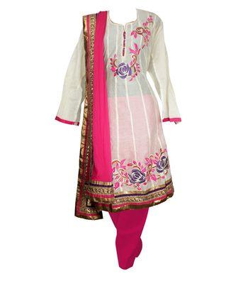Sihiri White Banaras Cotton Anarkali Dress Material Punjabi Suit with Pink Dupatta