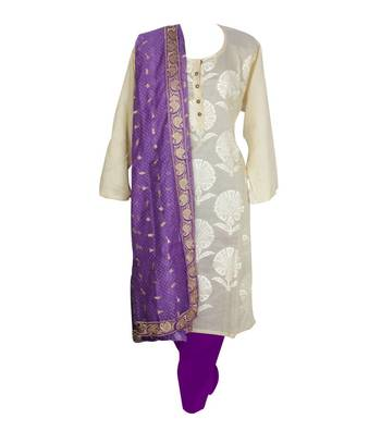 Sihiri White Banaras Cotton Silk Dress Material Punjabi Suit with Purple Supernet Dupatta