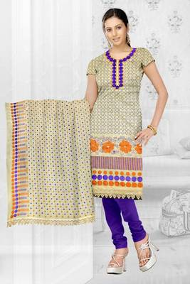 Sihiri Beige Banaras cotton Silk Dress Material Punjabi Suit with Beige Georgette Dupatta