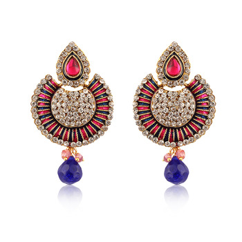 Blue And Pink American Diamond Studded Earrings ER-1170