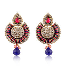 Buy Blue And Pink American Diamond Studded Earrings ER-1170 danglers-drop online
