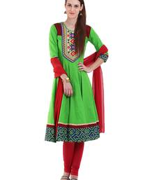 Buy PARRTO GREEN embroidered Cotton stitched salwar with dupatta anarkali-salwar-kameez online