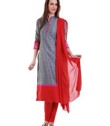 Buy GREY embroidered  Handloom Cotton stitched salwar with dupatta readymade-suit online