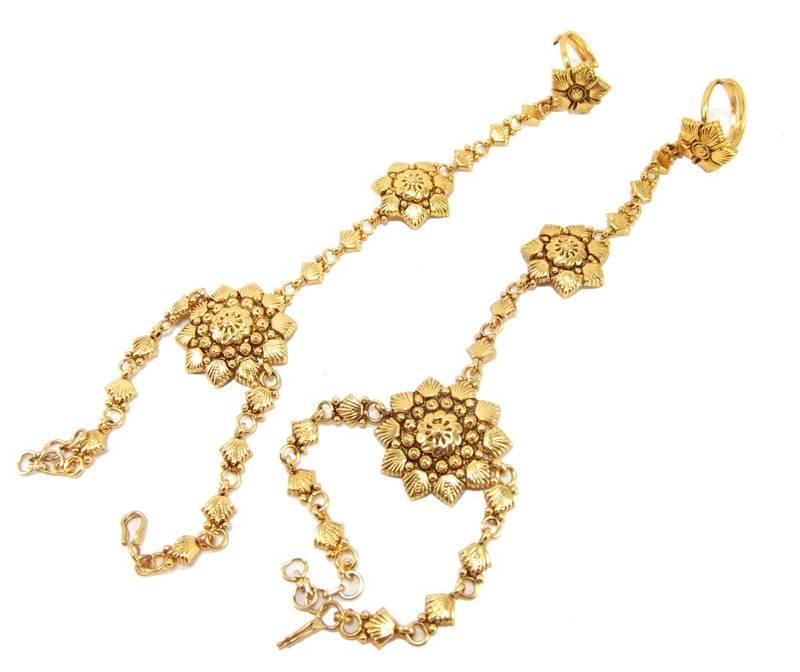 Buy stylish gold plated slave bracelet with adjustable ring ...