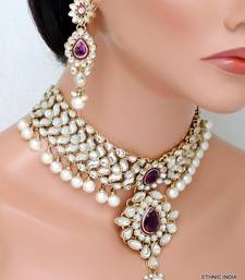 Buy Purple White Kundan Pearl CHOKER GOLD NECKLACE EARRING Wedding SET eid-jewellery online