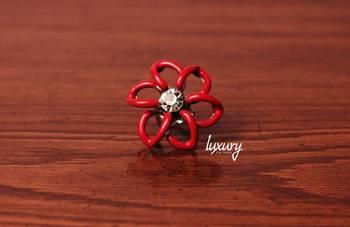 Designer Flower Red Ring Studded Crystal