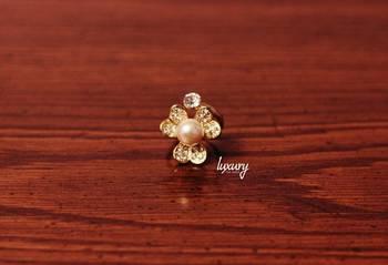 Golden Flower Diamond  Pearl RING, Adjustable Handmade, Precious Stone Jewelry