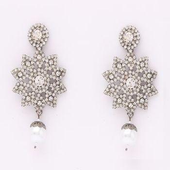 Dazzling Earrings in Austrian Diamonds & Pearls