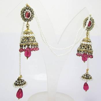 Victorian Crown Kashmiri Jhumki Queen Pink