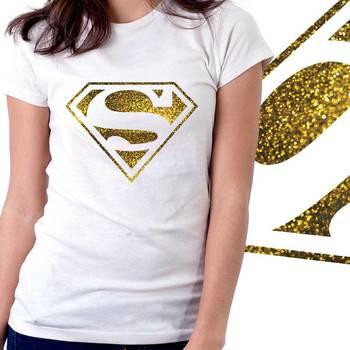 Superman Womens Glitter Tshirt at Offer, Womens Gold Special Effect T-shirt