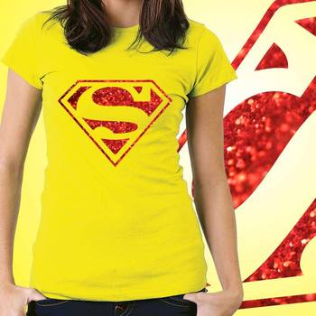 Superman Womens Glitter Tshirt at Offer, Womens Red Special Effect T-shirt
