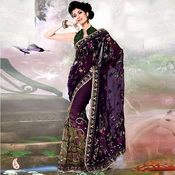 Purple and Olive Green Shaded Sari