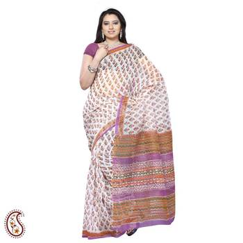 White and Multicolour Block Print Kota sari