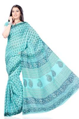 Celeste Blue Block Printed Cotton Sari
