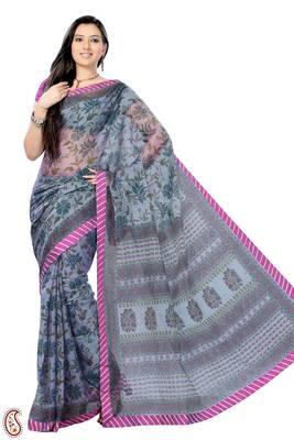 Rose Quartz Grey Block Printed Cot silk Sari