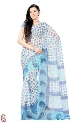 Blue and White Block print Polka Dots Kota Sari