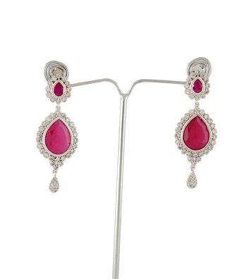 Sihiri Lavish CZ Pink Earrings