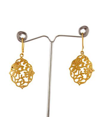 Sihiri Golden Mesh Drop  Earrings 1