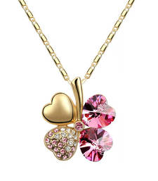 Buy Pink and Gold Crystal Clover Necklace Necklace online