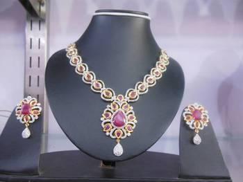 american diamond with kundan necklace set
