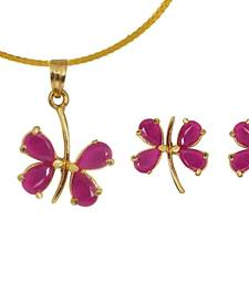 Buy Pink Butterfly Pendant Set necklace-set online